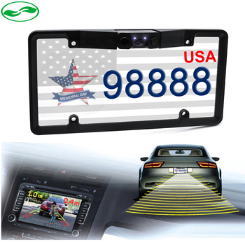 2in1 Car LED Night Vision License Plate Frame Rear View Camera with 2 Parking Sensors For United States, Mexico, Canada