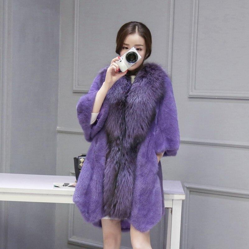 2016 mink fur coat the whole mink coat female models fur long section of large silver fox fur collar