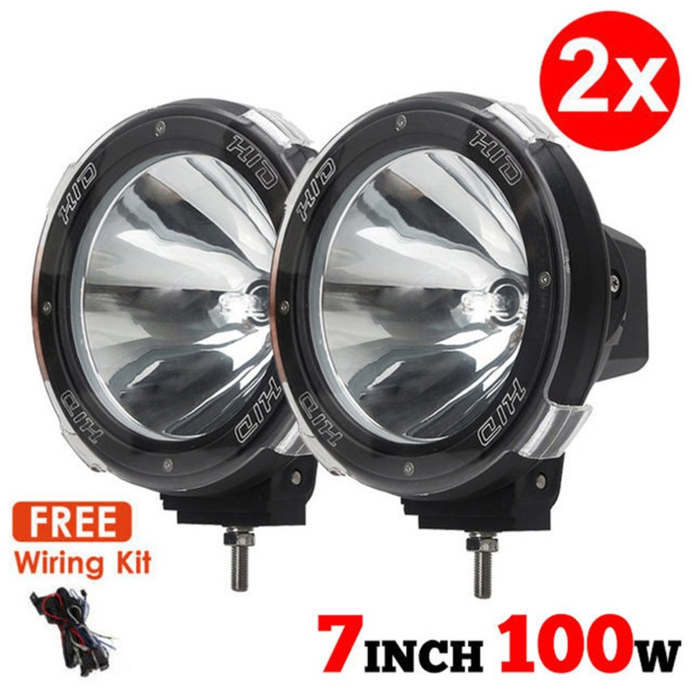цена на Universal New 1 Pair 7 inch 12V 100W HID Driving Lights XENON Spotlights for Offroad Hunting Fishing Camping Work Spot Lights