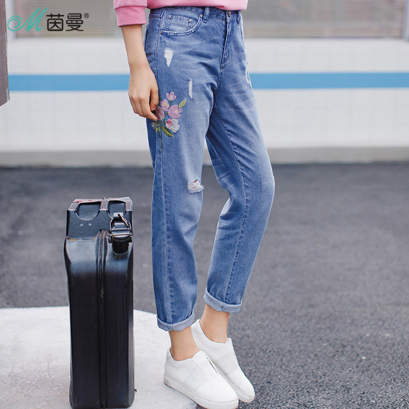INMAN 2018 Spring Clothes Embroidered Jeans Woman Nine Cents Trousers Broken-Hole Jeans 2017 spring new embroidered jeans color embroidered national wind low waist jeans trousers
