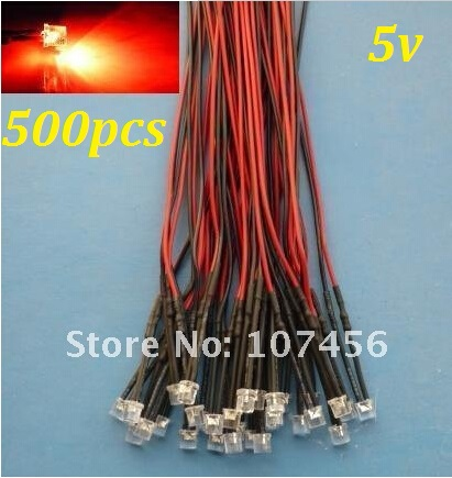 Free Shipping 500pcs Flat Top Red LED Lamp Light Set Pre-Wired 5mm 5V DC Wired 5mm 5v Big/wide Angle Red Led