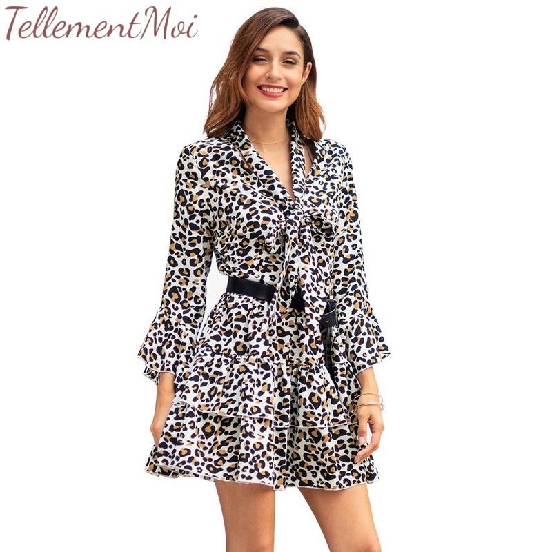 2019 D'été Femmes Robe à Manches Longues Imprimé Léopard Robes Verano décontracté Streetwear Bureau Volants Mode Mini Robe