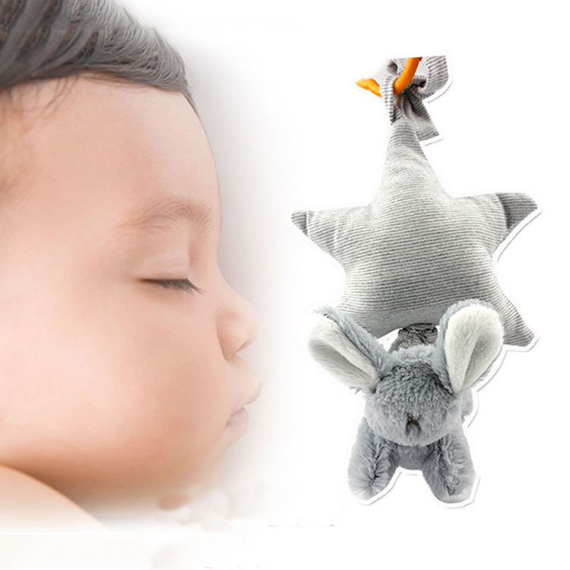 Baby Rattle Star&Rabbit Rotating Sleep Bed Bell Plush Soft Bed Hanging Infant Early Education Crib Music Box For Children