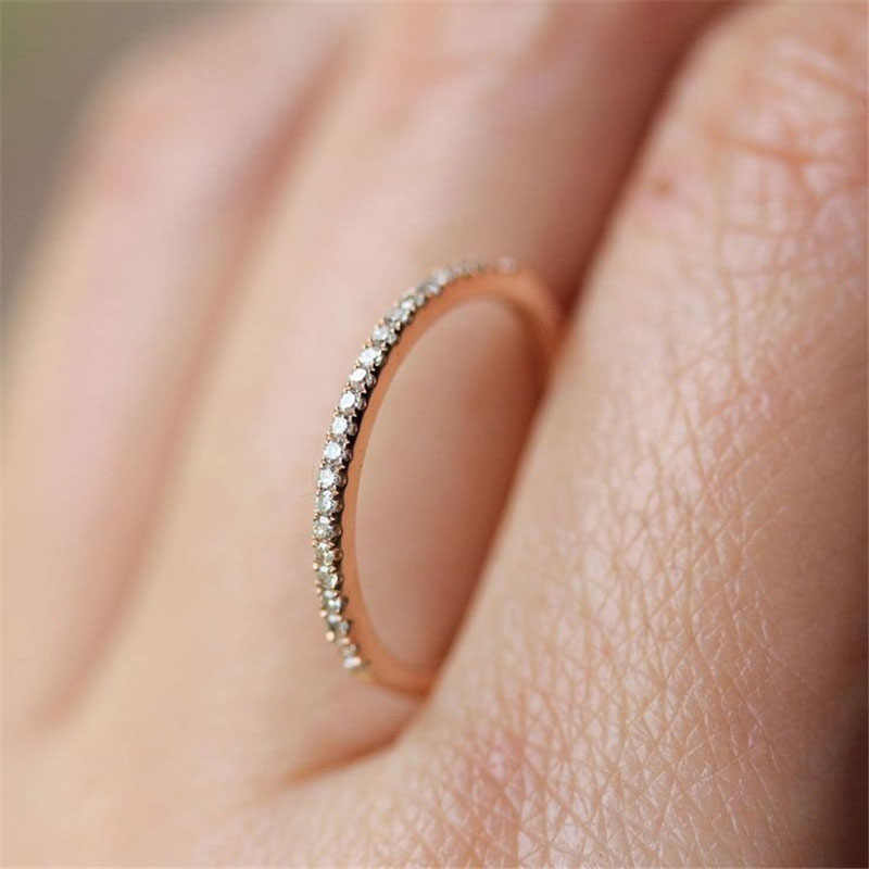 New Fashion Crystal Stainless Steel Rings For Women Small Zicon Personalized Fashion Simple Design Rings Jewelry