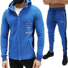 Autumn Men Sportswear Tracksuit Letter Printed Zip up Hooded Jacket Sweatshirt+pant Running Jogger Casual Fitness Outfit Set все цены