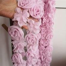 Garniture de robe de mariée en mousseline de soie et dentelle rose clair, sangle à épaule, jupe, ceinture, tissu fleuri fait main, accessoires