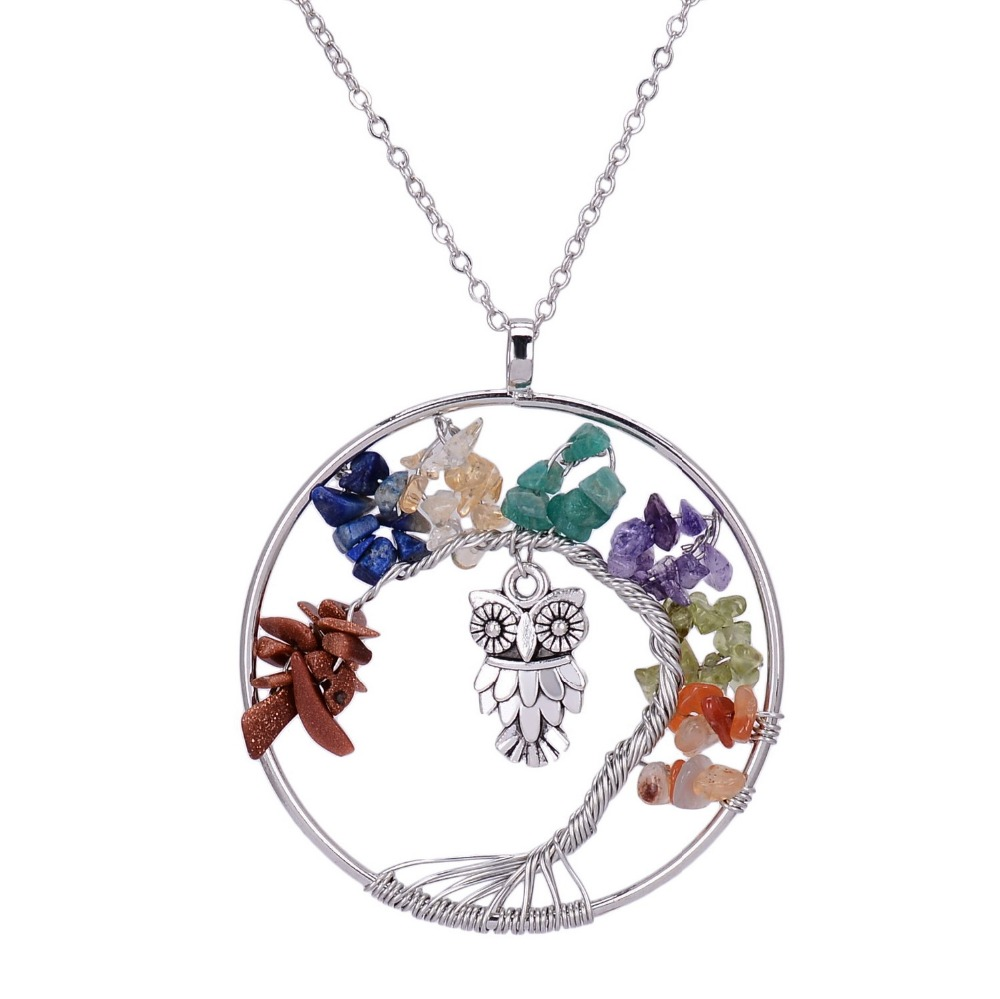 Qilmily 7 Chakra Tree Life Crystal Owl Charm Necklaces Pendants for Women Men Natural Stone Statement