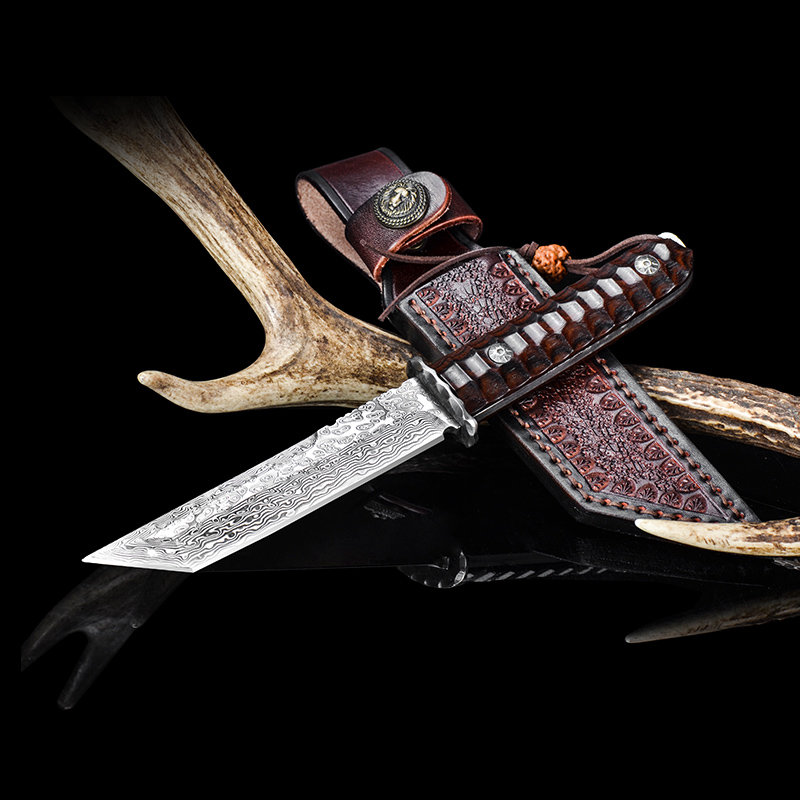 Handmade Damascus Steel 9.5 Inches Hunting Knife - Red acid wood with Leather sheath king double krn a5t 5 zirconia ceramic utility knife w sheath red white