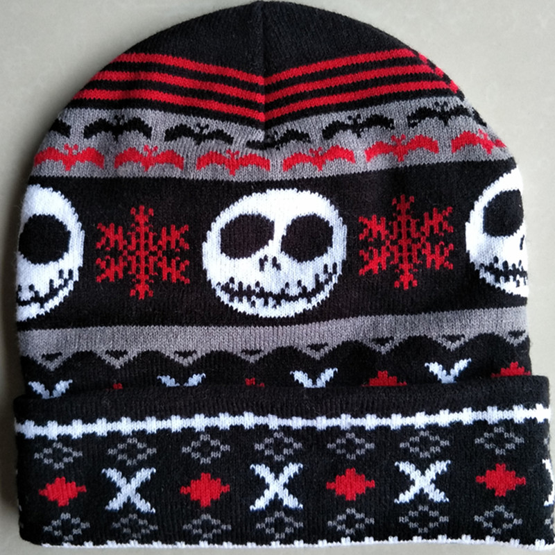 the Night Before Christmas Jack Skellington Skull Cotton knitting Beanie Cap Adult Kid Cartoon Winter Plush Soft Warm hat caps the new children s cubs hat qiu dong with cartoon animals knitting wool cap and pile