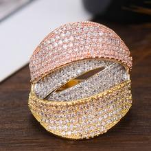 GODKI واسعة الفاخرة 3 لهجة تويست طبقات شيك خواتم للنساء الزفاف مكعب الزركون ثوب زفاف إفريقي دبي خواتم الاصبع المجوهرات 2019