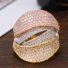 GODKI szeroki luksusowy 3 Tone Twist warstwy Chic pierścionki dla kobiet ślub Cubic cyrkon afryki dla nowożeńców dubaj Finger pierścionki biżuteria 2019