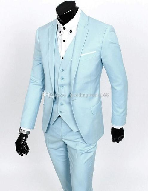 Fit Side Vent Groom Tuxedos Notch Lapel Best man Suit Baby Blue ...