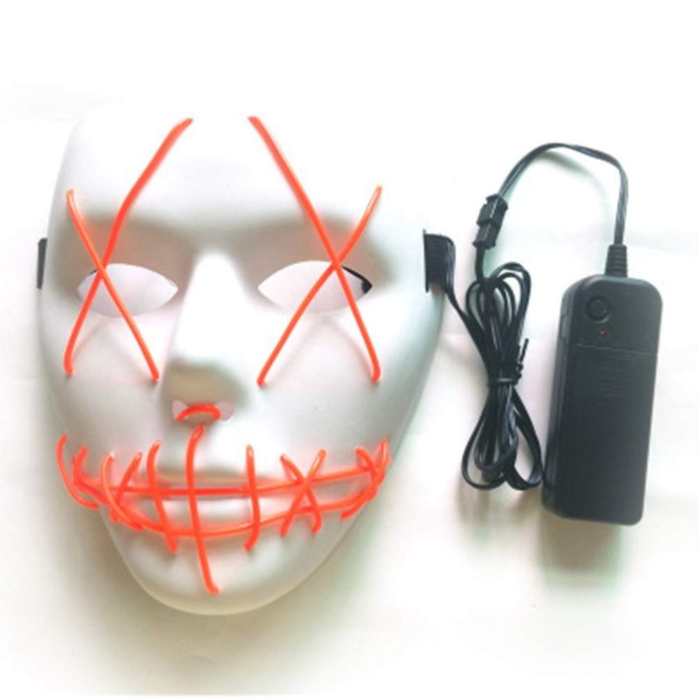 Halloween Mask Led Masks Glow Scary Mask Light Up Cosplay Mask Glow In Dark For Festival Music Party Costume Christmas Fancy Colours Boys Costume Accessories