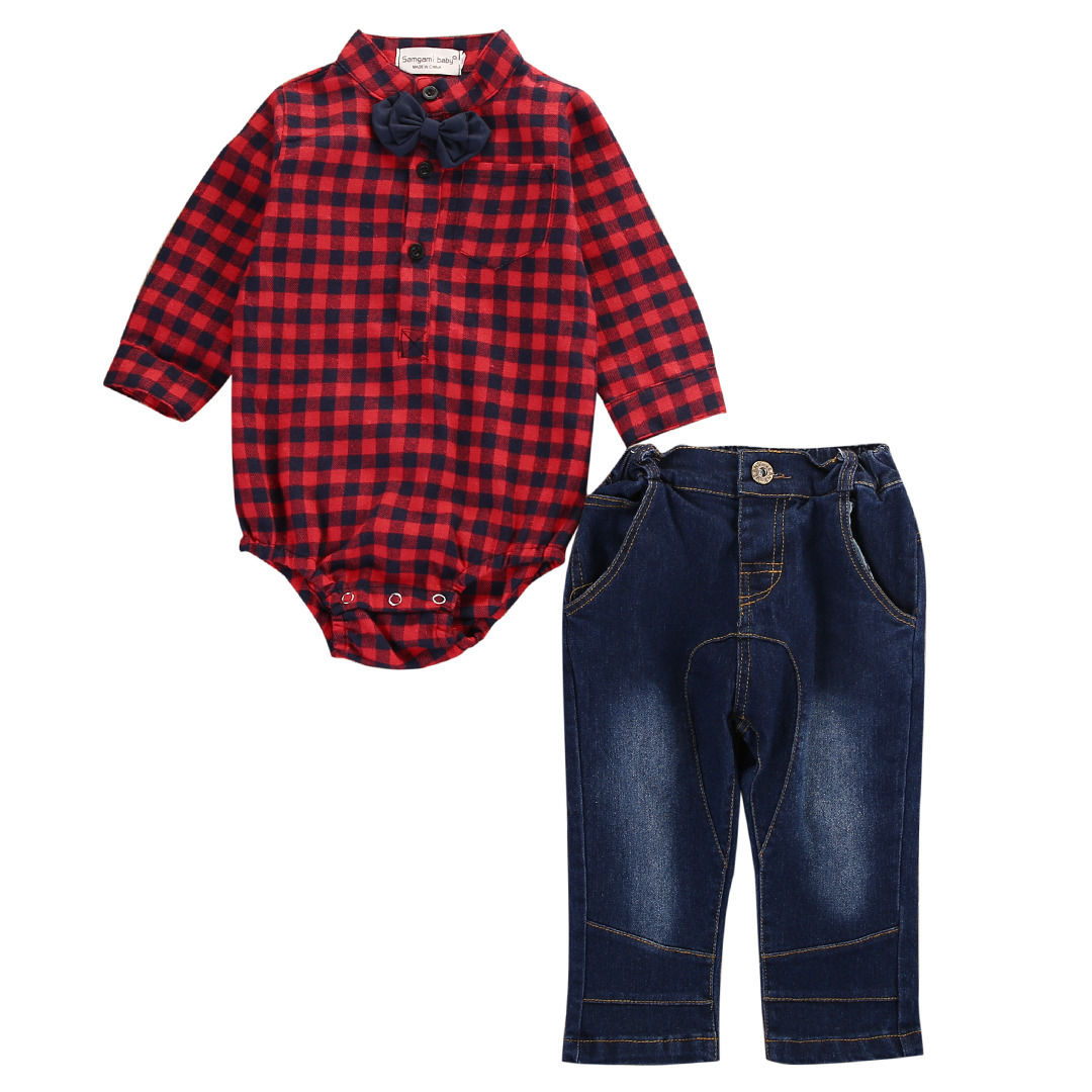 Newborn Infant Toddler Baby Boys Clothes Long Sleeve Casual Romper Plaid Tops+Pants 2PCS Outfits Set puseky 2017 infant romper baby boys girls jumpsuit newborn bebe clothing hooded toddler baby clothes cute panda romper costumes