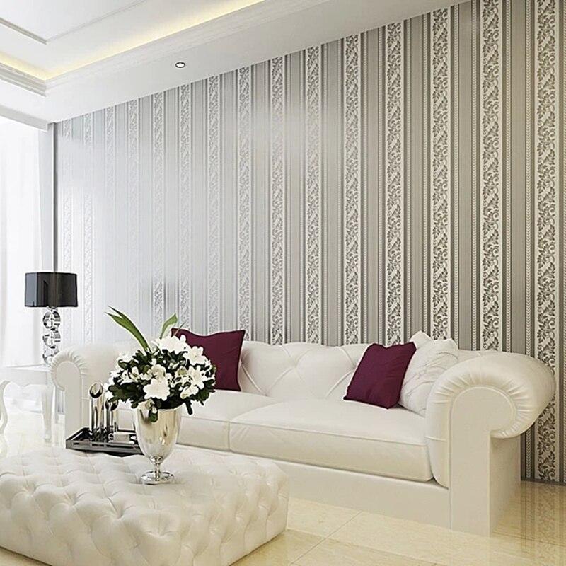 online kaufen großhandel silber gestreifte tapete aus china silber ... - Wohnzimmer Farben Grau Streifen