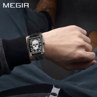 Men S Watch Megir Cool Bone Luxury Brand Creative Clock New Black Male Watch Skull Style
