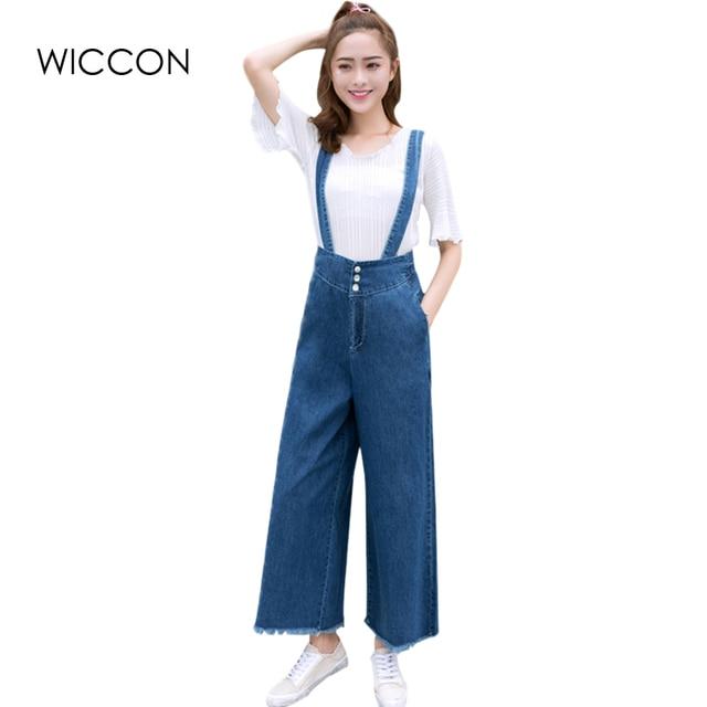 dd5c910262a8 loose denim wide leg jumpsuits for woman casual detachable braces jean blue  full length good match female clothes jean jumpsuit