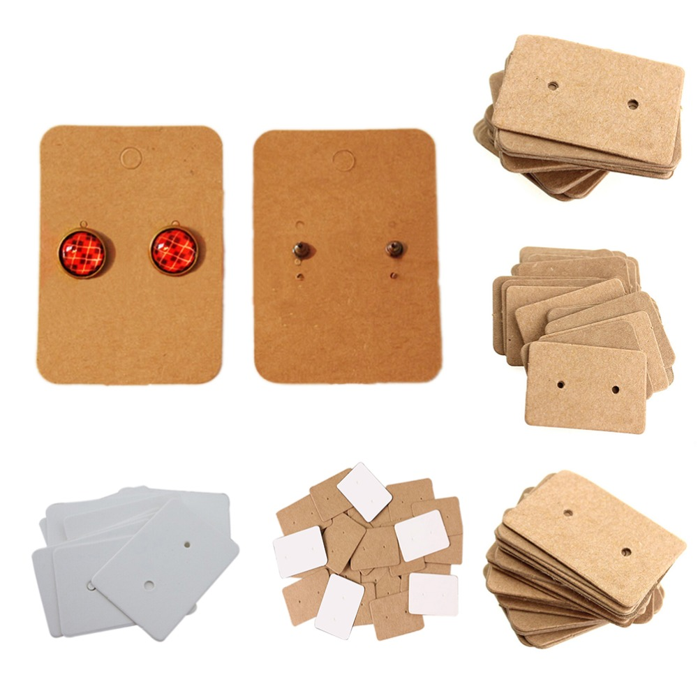 100Pcs Blank Kraft Paper Ear Studs Card Hang Tag Jewelry Display Earring Crads Favor Marking Garment Prices Label Tags 2.5x3.5cm