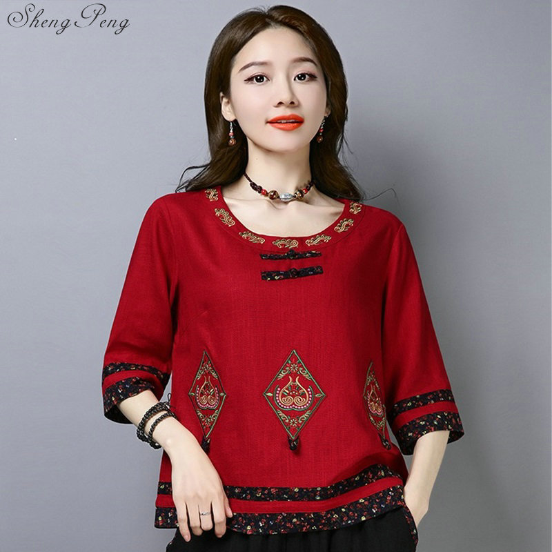 2019 Woman Chinese Traditional  Women Oriental China Clothing Womens Tops And Blouses  G148
