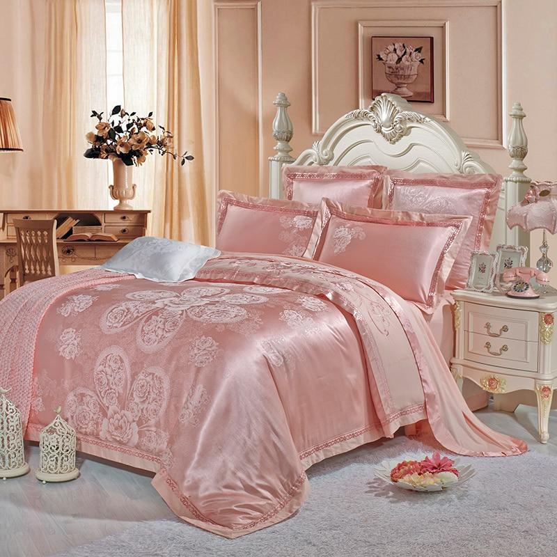 2018 Light Pink Flowers Bedding Set Silk Cotton Blend Duvet Cover Set Jacquard 4pc Queen King Bedlinens Sheet Pillowcases