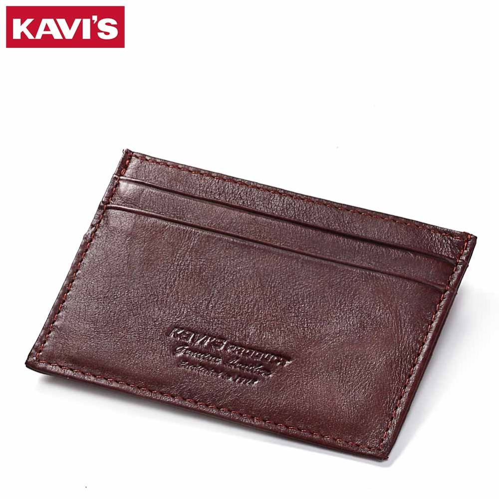 KAVIS Cow Leather Credit Card Wallet Coffee Color Men Credit ID Cards Holder Small Wallet Coin Purse Slim Thin Male Mini Walet