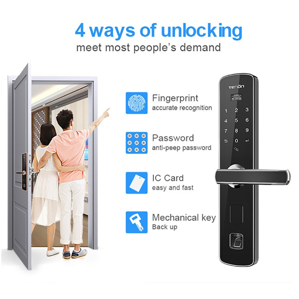 V3 RF Sensor Intelligent Fingerprint Code Key Touch Screen Digital Password Anti-theft Electronic Door Lock quik lok lph001