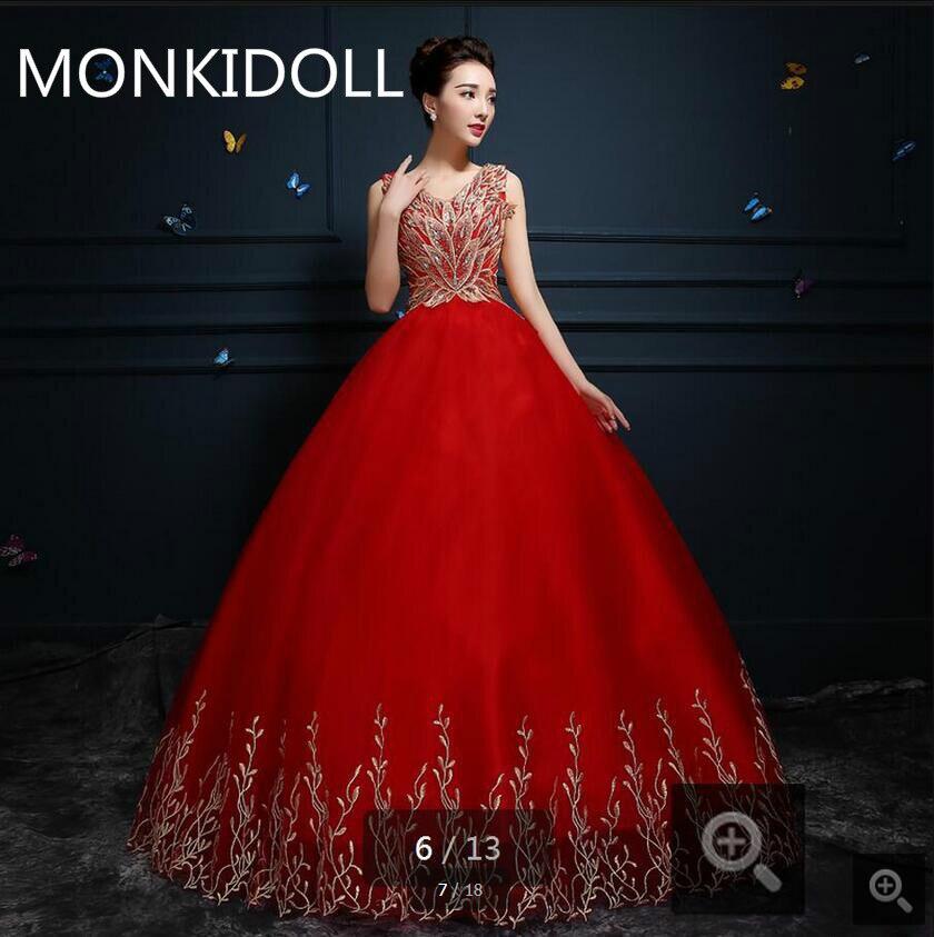 Vestido De Festa red lace ball gown v neck wedding dress gold appliques beading crystals corset bride dress real picture 2017