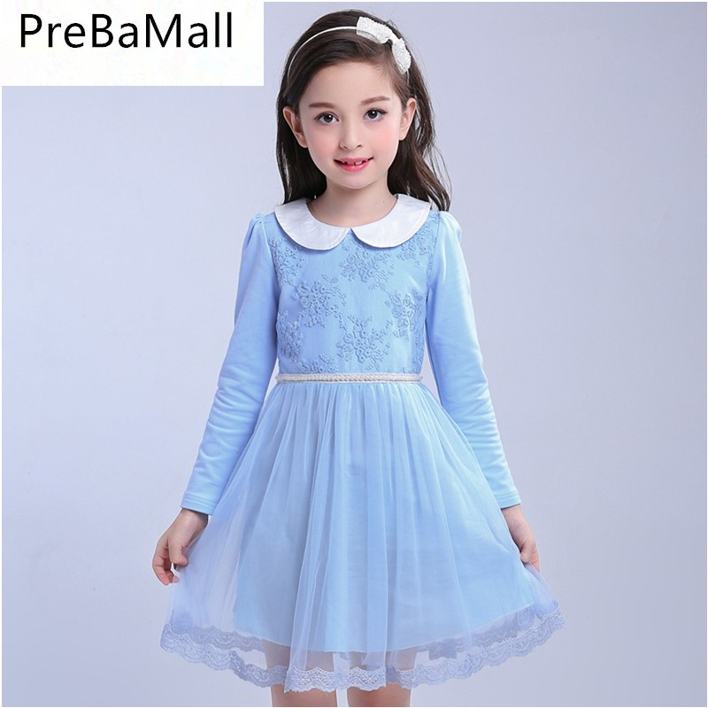 Elegant Princess Flower Girl Dress Wedding Birthday Party Dresses For Girls Teenager Long Sleeve baby clothes dress B0536 girls party dresses elegant 2017 summer short sleeve flower long tail princess girl dress children kids wedding birthday dresses page 2