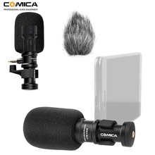 Comica CVM-VS08 Mini Smartphone Microphone Cardioid Directional Video Phone Mic for iPhone Android Smartphone(with Windmuff)