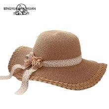 BINGYUANHAOXUAN Summer Handmade Flower Large Brim Hats Children Trip Sunscreen hats Elegant Girl Cap