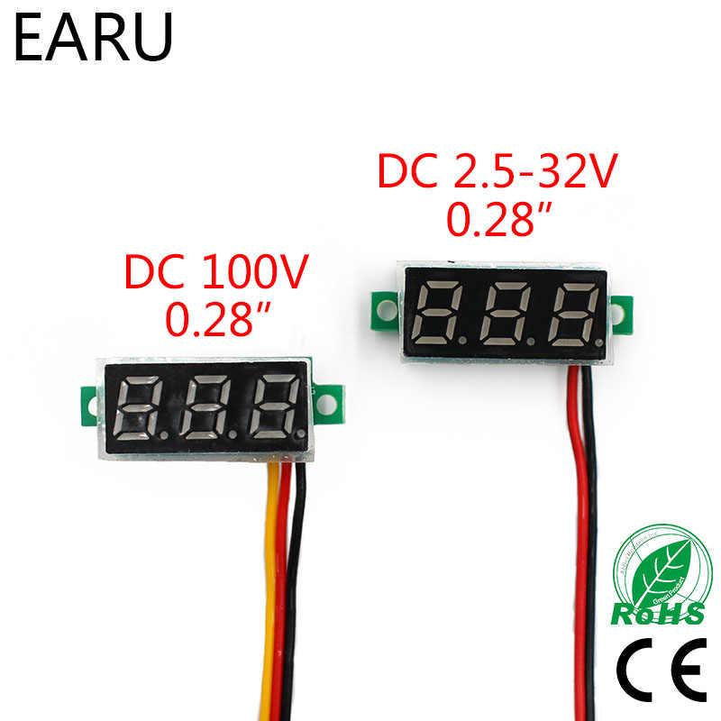 0.28 Inch DC LED Digitale Voltmeter 0-100V Voltage Meter Auto Mobiele Voltage Tester Detector 12V Rood Groen Blauw Geel