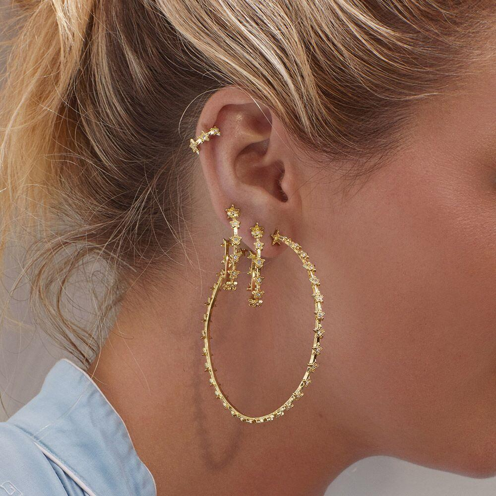 classic fashion jewelry simple cz star circle hoop earring Gold color trendy women jewelry