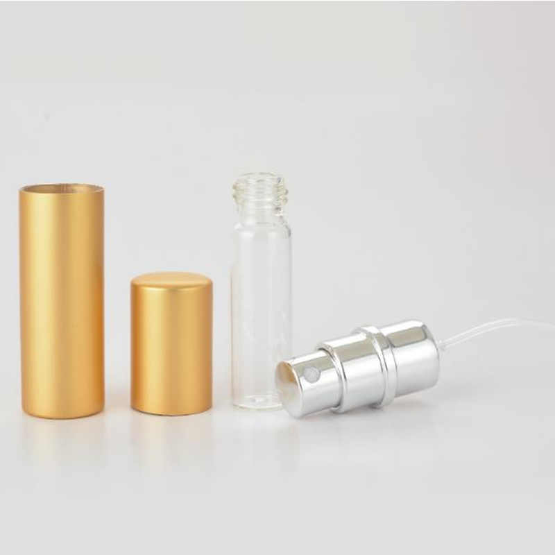 1pcs mini 5 ml garrafa de perfume recarregável de alumínio portátil com recipientes cosméticos vazios com atomizador acessórios de viagem