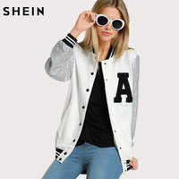 SHEIN A Patch Sequin Sleeve Stripe Trim Baseball Jacket Autumn Womens Jackets And Coats Color Block