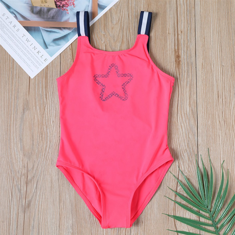 Girl Swimwear Sleeveless Low Back Five Point Star Printed One Piece Children Swimming Swimsuit Suit