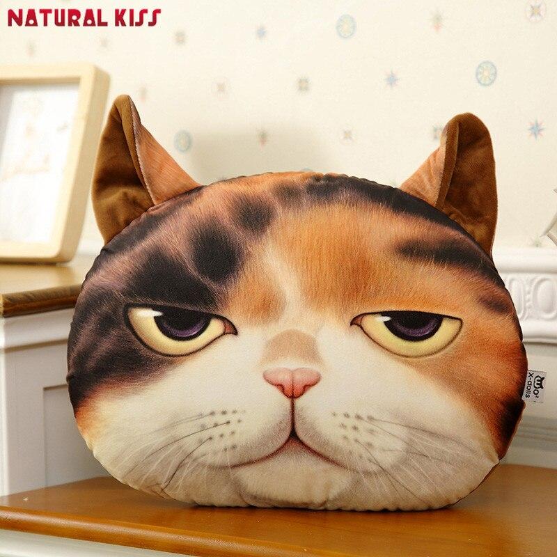 2018 New 3D Cartoon Cute Cat Animals Decorative Pillows Car Decor Natural Soft Cushion Cotton Cojines Home Cushions White Gray