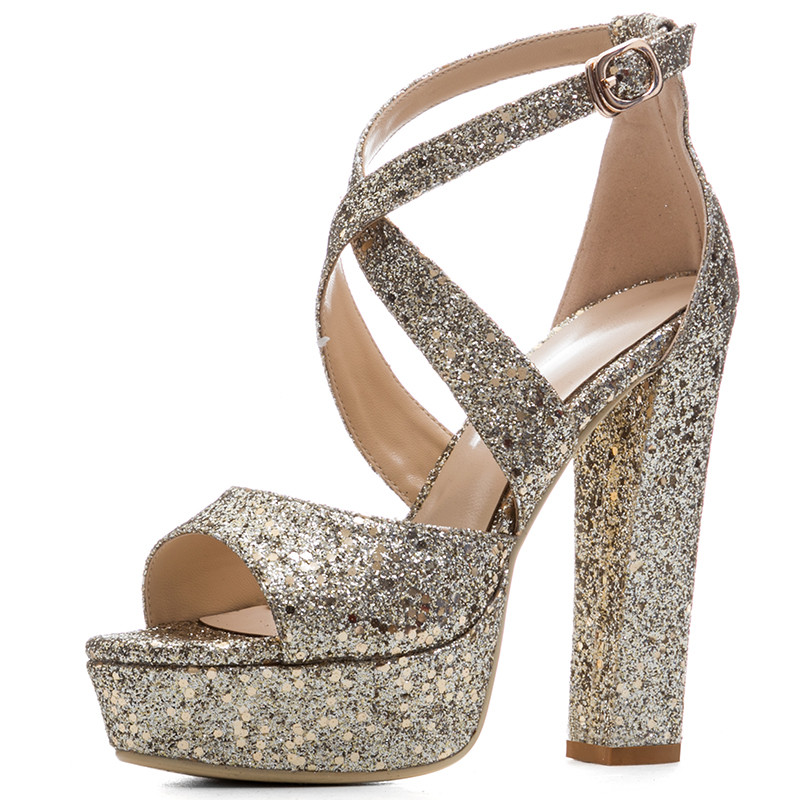 2019 new sequined waterproof terrace with open toe cross straps thick heel super high heel sexy pure color summer sandals