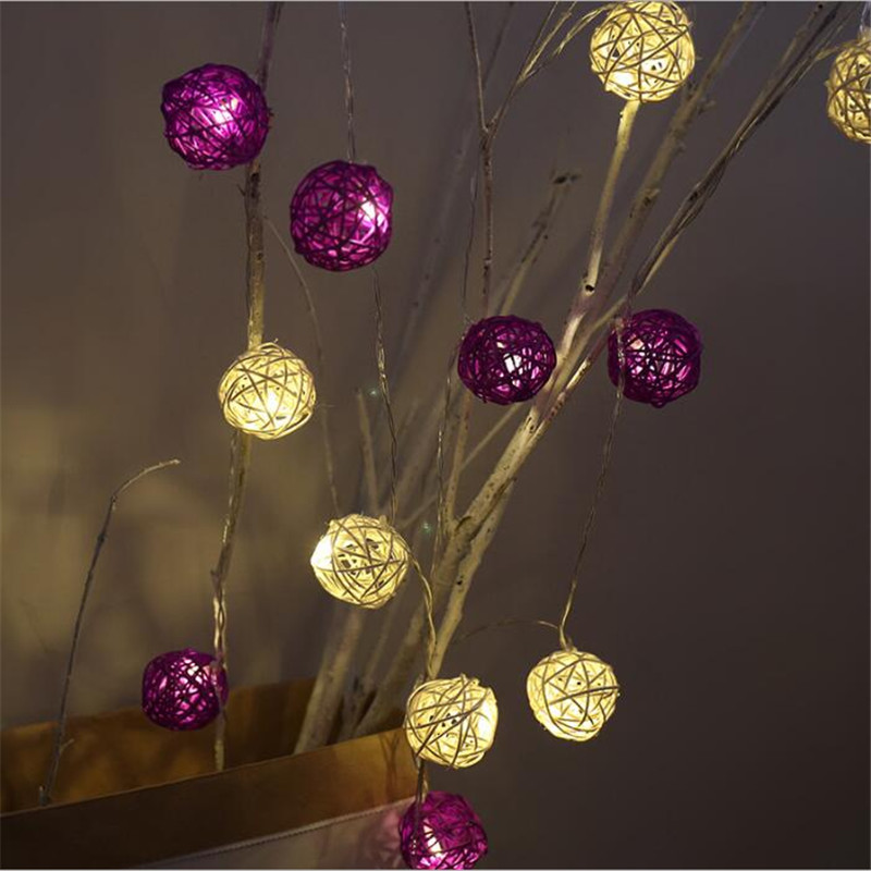 Decorative Light Kids Thailand Purple Rattan Ball Christmas Garland <font><b>Battery</b></font> 10 Leds Night Guirlande String Lights Chain <font><b>Flasher</b></font>
