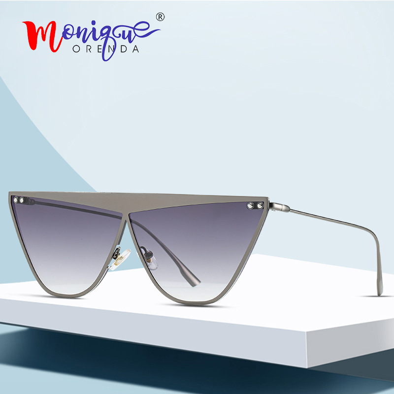 Sunglasses Women Shades Metal-Frame Cat-Eye Retro New-Fashion UV400 Oculos Rivet Flat-Top