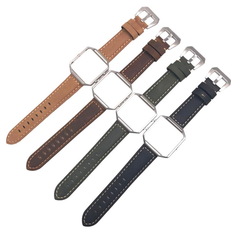 OTOKY Wrist strap For Fitbit Blaze 2017 Luxury Leather Watch Band Wrist strap+Metal Frame For Fitbit Blaze Smart Watch May09 fitbit blaze band large metal frame housing
