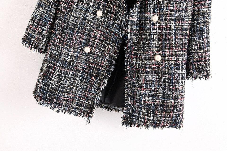 Veste Et Base Tweed Élégant Vestes 2018 Manteaux Bts Gris Blazer Blazers D'affaires Femme Femmes Gland Féminin Perles Vintage De 501qZnCx7