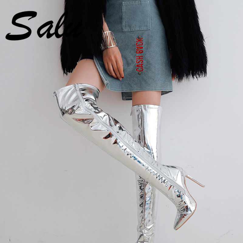 Salu 2019 Plus Size 33-48 Brand New Pointed Toe Women Shoes Sexy Thin High Heel Party Shoes Woman Winter Over The Knee BootsSalu 2019 Plus Size 33-48 Brand New Pointed Toe Women Shoes Sexy Thin High Heel Party Shoes Woman Winter Over The Knee Boots