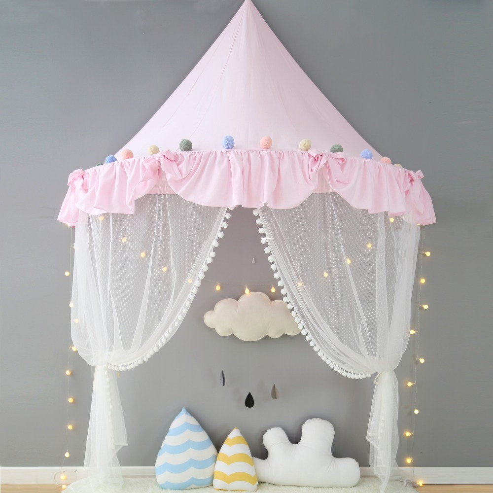 Nordic Baby Canopy Beds Kids Play Tent Princess Pink Sky Blue Playhouse Tipi Enfant Children Room