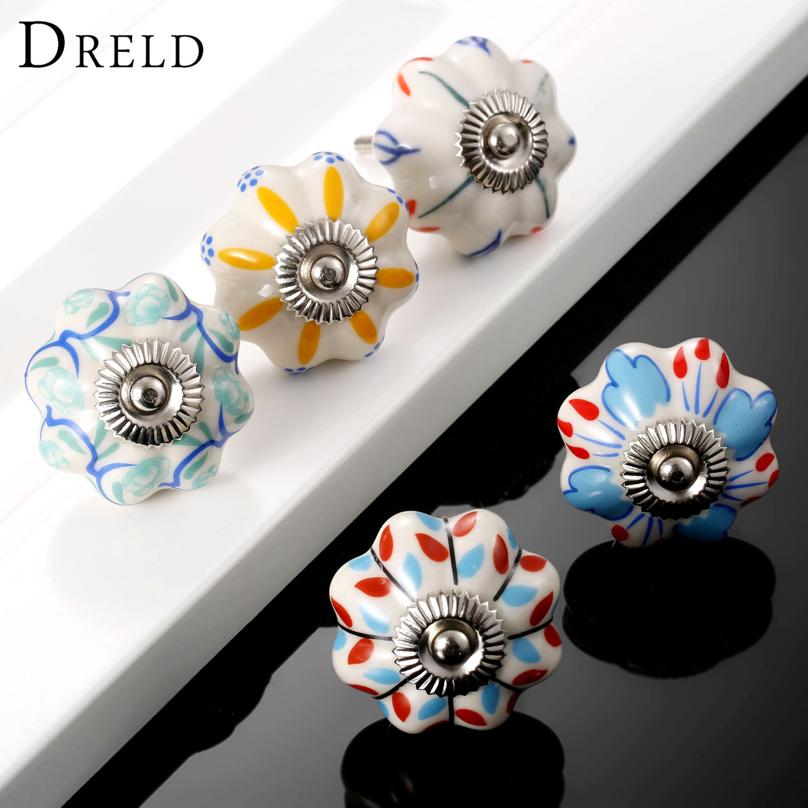 DRELD Vintage Furniture Handle Flower Ceramic Knobs and Handles Door Handle Cupboard Drawer Kitchen Pull Knob Furniture Hardware pastoralism pumpkin ceramic knob kitchen ceramic door cabinets cupboard knob and handles 1pcs