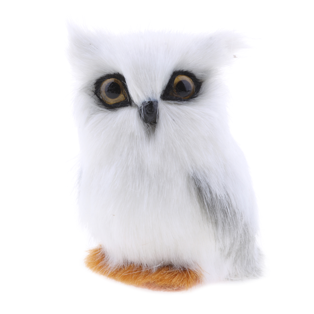Lovely Simulated White Owl Animal Decor Prop Gift Artificial Owl Decoration Craft Artificial Owl Garden Statues