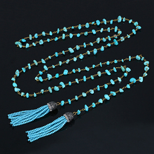Sea Blue Green Natural Stone Necklace Amazonite Turquoise Chips Bead Chain Necklace Handmade DIY Long Tassel Necklaces For Women stylish faux turquoise carving leaf tassel necklace for women
