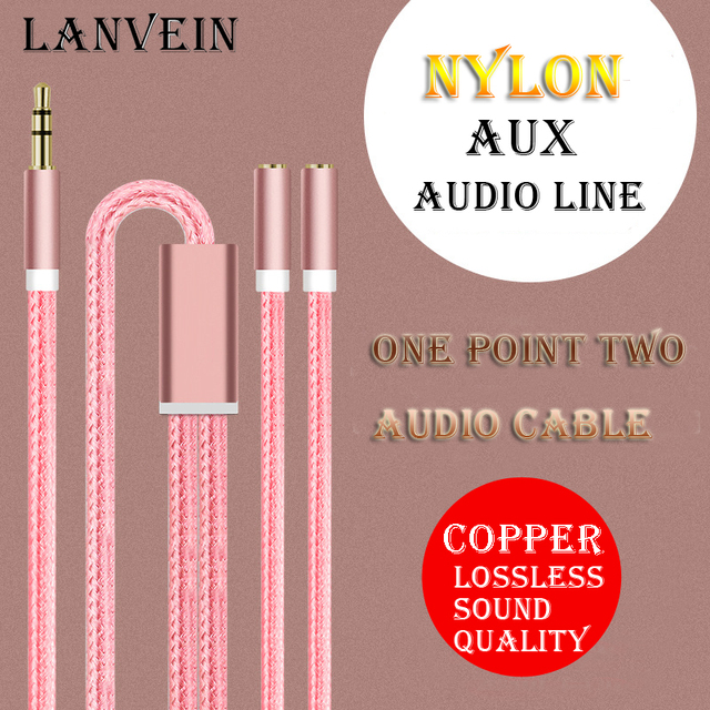 high quality new brand 1 min 2 couple headphone splitter couple splitter one point two audio cable high quality invoice out put