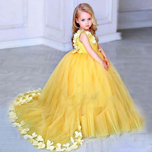 Long Sleeves Red Flower Girls Dresses Lace Tulle Pageant Children