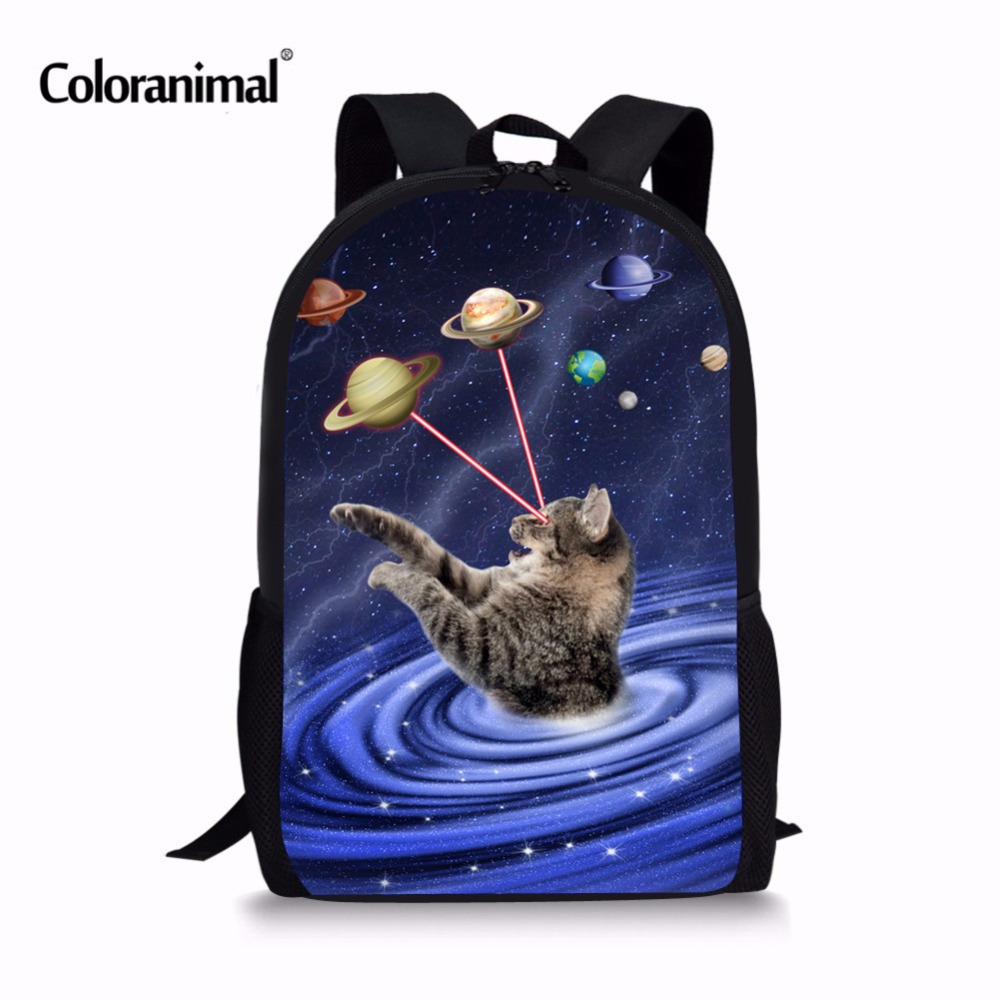 1a40669fa1 Coloranimal New Galaxy Space Star Cat Print for Backpack Women Men Kids  Teenagers Boys School Bags Planet Children Large Bagpack-in School Bags  from Luggage ...
