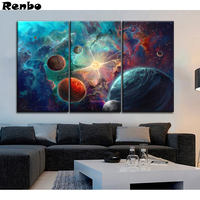 3 Pieces Universe Planet Outer space diamond embroidery sale full diamond painting cross stitch kit diamond Mosaic home decor